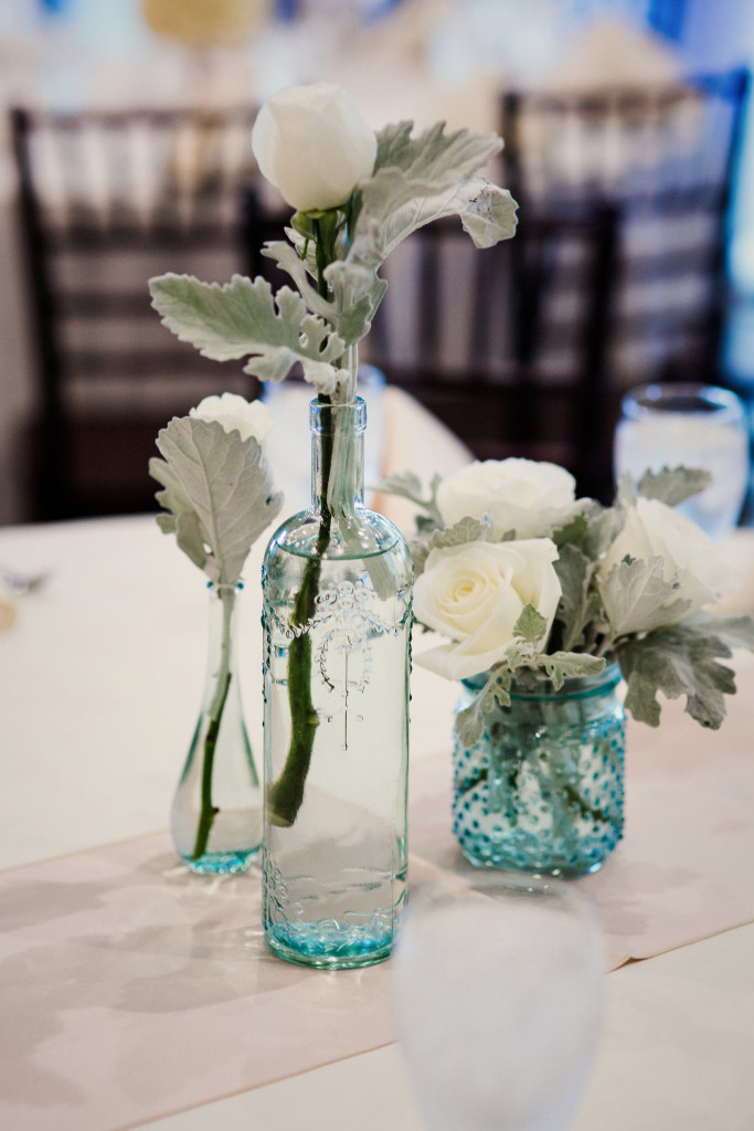 wedding details mint green vase
