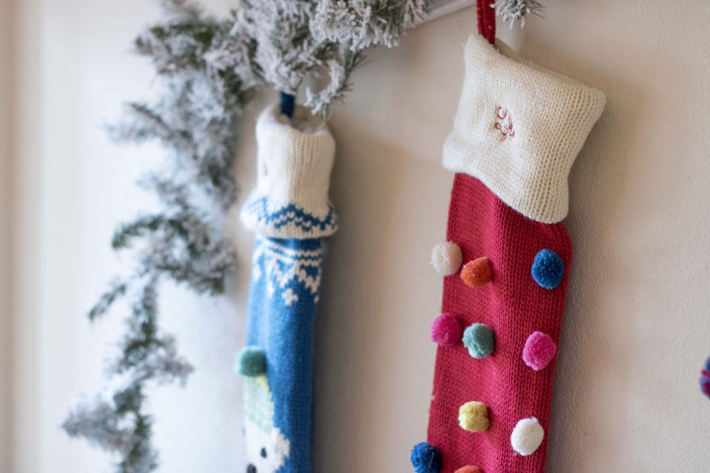 Merry and Bright Stocking Pottery Barn Flocked Garland DIY