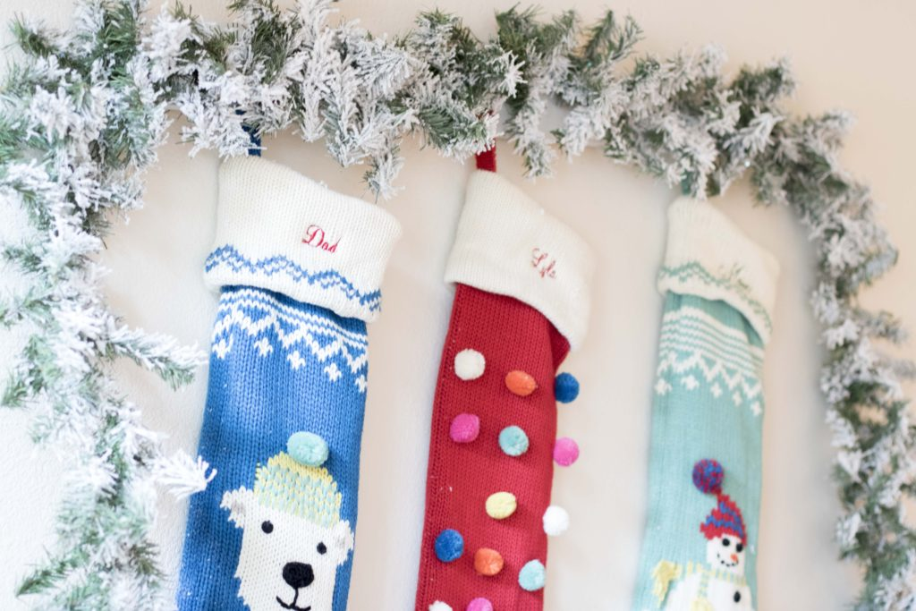 Merry and Bright Stocking Pottery Barn Flocked Garland